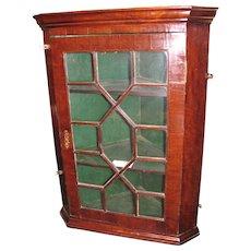 Antique English Georgian Mahogany Hanging Corner Cupboard Circa 1780
