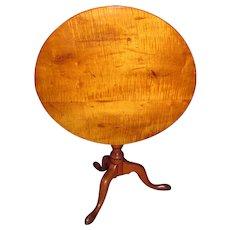 Antique American Tiger Maple Tilt Top Tea Table Circa 1780