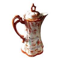 Antique Japanese Kutani Porcelain Coffee Pot circa 1890 Meiji