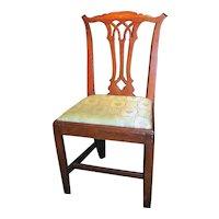 Antique English Georgian Oak Chippendale Side Chair Circa 1770
