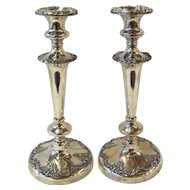 Pair Antique Silver Sheffield Plate Candlesticks Circa 1820