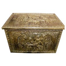 Early 20th Century Dutch Brass and Steel Fireplace Storage Box