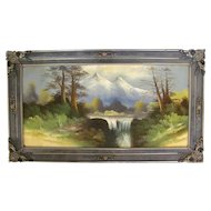 Antique Oil On Board Landscape Painting Circa 1920