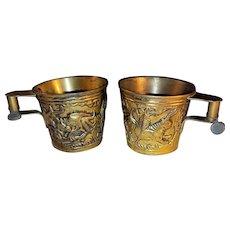 Pair Antique Grecian Museum Reproduction Cups Circa 1925