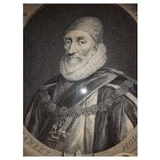Antique Engraving Charles Howard Earl of Nottingham 18th Century