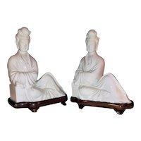 Antique Pair of Chinese Dehua Blanc de Chine Guanyin Porcelain Figures Ching to Republic Circa 1910