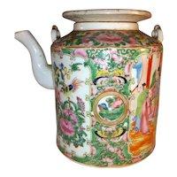 Antique Chinese Export Rose Medallion Porcelain Teapot 19th Century
