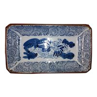 Antique Japanese Hand Painted Porcelain Sushi Tray Circa 1900