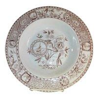 Antique 19th Century Staffordshire Orientalist Brownware Shallow Bowl Circa 1880