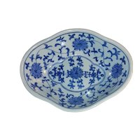 Antique Chinese Blue and White Footed Dish 19th Century
