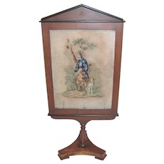Antique Biedermeir Framed Needlepoint Fireplace Screen Circa 1820