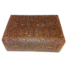Antique Hand Carved Tropical Hardwood Anglo Indian Jewelry Box Circa 1920