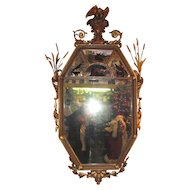 Large Antique English or American Adams Style Gilt Mirror 19th Century