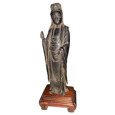 Antique Kuan Yin Figure of Mixed Metal 18th or 19th Century