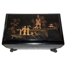 Antique Chinese Export Lacquer Tea Caddy 19th Century