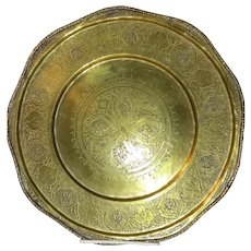 Antique Indo-Persian Brass Tray 19th Century