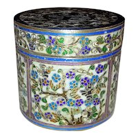 Antique Chinese Export Silver Cloisonné Box 19th Century