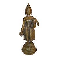 Antique Nepalese Bronze Standing Buddha Figure 19th Century