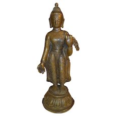 Antique Nepalese Bronze Standing Buddha Figure 19th Century