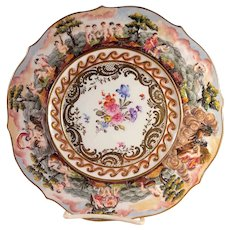 Antique German Capodimonte Style Decorative Porcelain Tray Early 20th Century