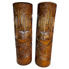 Pair Antique Chinese Bamboo Brush Holders 19th Century
