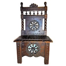 French Oak 17th Century Style Miniature Chair 18th Century