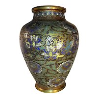 Antique Chinese Bronze and Enamel Champleve' Vase 18th Century