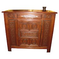 Antique English Oak Gothic Revival Cabinet Circa 1830