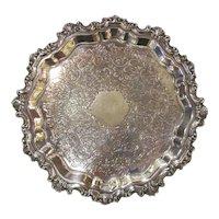 Antique English Silverplate Salver Circa 1900 Sheffield