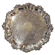 Antique English Silverplate Salver Circa 1900 Sheffield