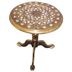 Antique English Brass Tilt Top Trivet Circa 1850