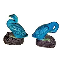 Antique Pair Chinese Miniature Turquoise Porcelain Ducks Circa 1900
