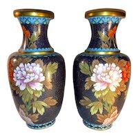 Pair Vintage Chinese Cloisonné Vases Circa 1960