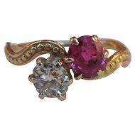 Antique Victorian 14k Diamond Ruby Ring Circa 1890