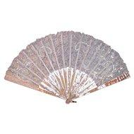 Antique Victorian Point De Gaze Lace Fan MOP Circa 1890