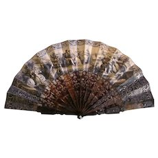 Unusual  Antique Victorian Mourning Fan Circa 1850