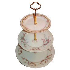 Custom Three Tier Cake Stand Made With Antique Limoges Plates