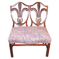 English Georgian Mahogany Double Chair Back Settee Circa 1780