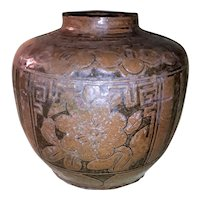 Antique Chinese Brownware Storage Jar 19th Century