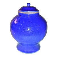 Antique Chinese Blue Monochrome Jar Kangxi Period Circa 1700