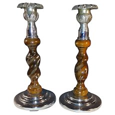 Antique Pair European Oak and Chrome Art Deco Candlesticks Circa 1925