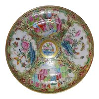 Antique 19th Century Chinese Export Rose Medallion Dish Circa 1840