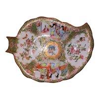 Antique Chinese Export Rose Medallion Leaf Dish Circa 1870