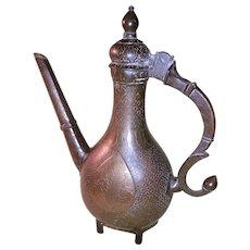Antique India Bronze Hot Water Ewer-17th-18th  Century