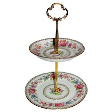 Custom Two Tier Cake Stand Made With Vintage Plates Royal Grafton