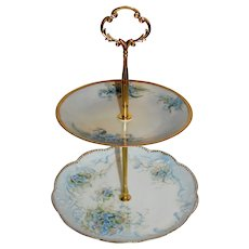 Custom Two Tier Cake Stand Made With Antique Hand Painted Plates