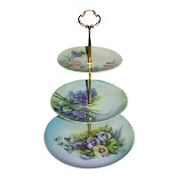 Custom Three Tier Tea Party Cake Stand Made With Vintage Hand Painted Plates