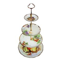 Custom Four Tier Cake Stand Made With Antique Hand Painted Plates Tea Party