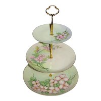 Custom Three Tier Cake Stand Made With Antique Hand Painted Plates Tea Party
