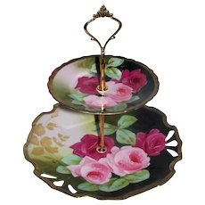 Custom Two Tier Cake Stand Made With Antique Hand Painted Plates Newport Belle